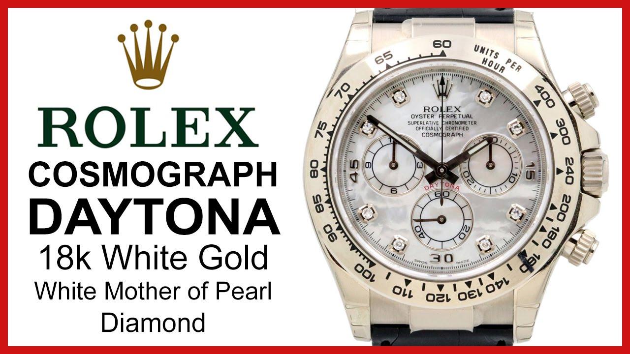 Rolex Daytona White Gold Black Mother Of Pearl