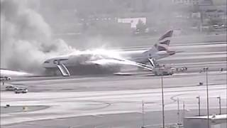 British Airways Boeing 777-200 engine failure and fire at Las Vegas thumbnail