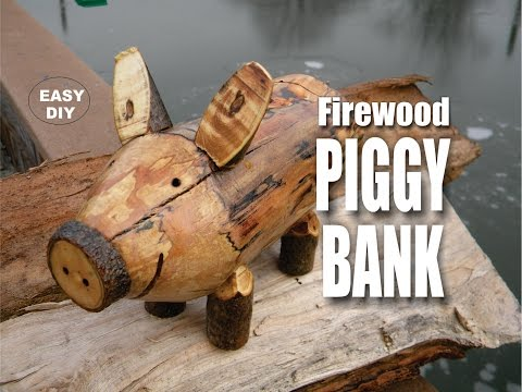 DIY Firewood Piggy Bank Easy How to Make video
