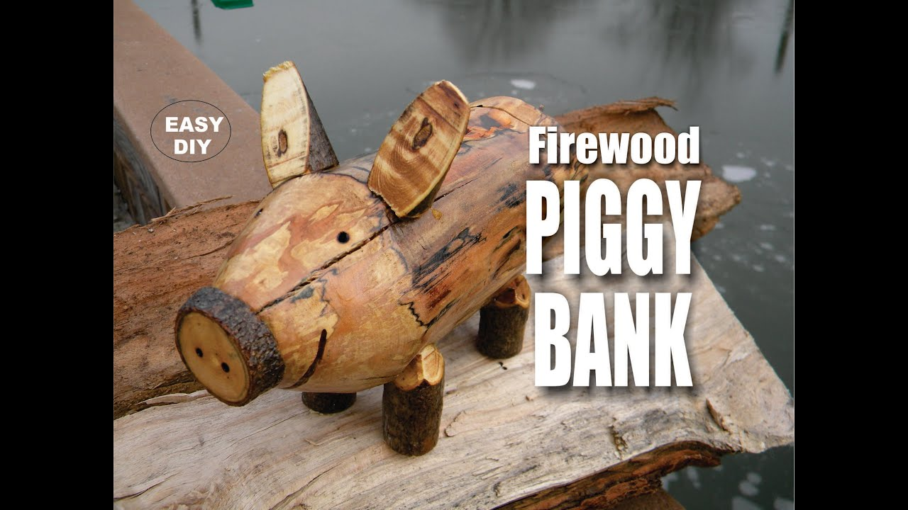 Diy firewood piggy bank easy how to make video youtube for How to make a simple piggy bank