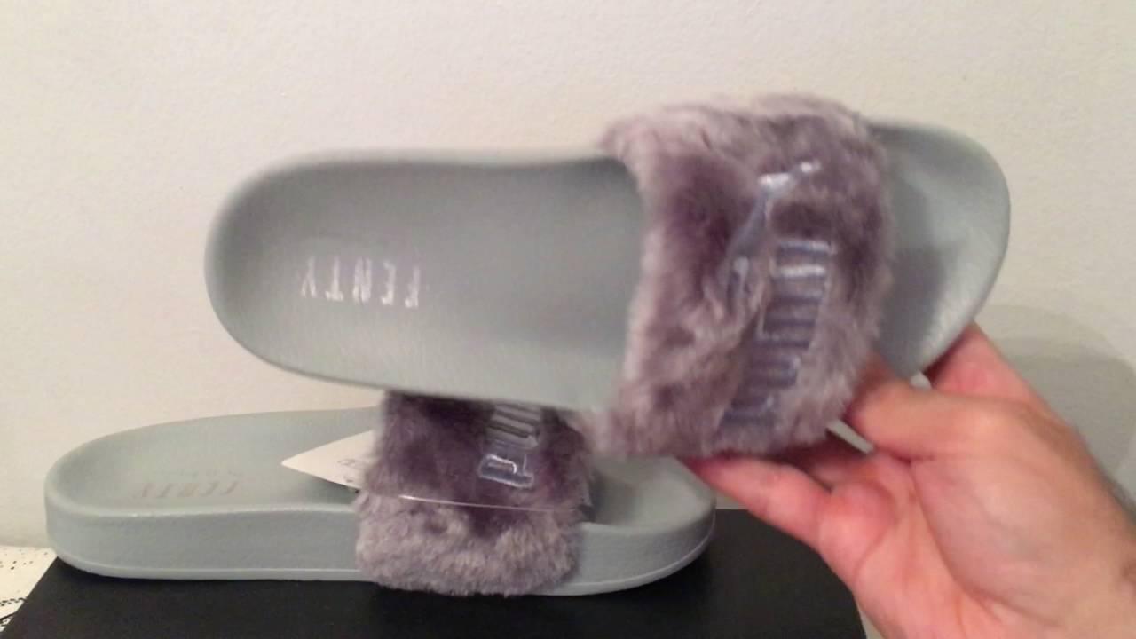 Puma Rihanna Leadcat Fenty Fur Slides Silver Grey 362266 - YouTube 7bca7f09a49c