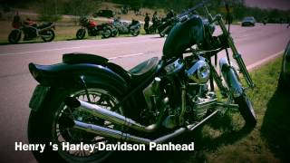 Harley Davidson Panhead kick start the Pan