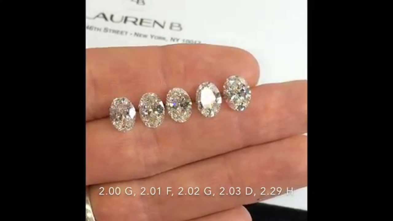 Oval Cut Diamonds Comparison 2 00 2 30 Ct D F G H Color Si2 Clarity