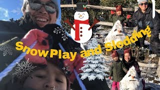 Kids Snow Play and Sledding First time at Lake Mountain Resort