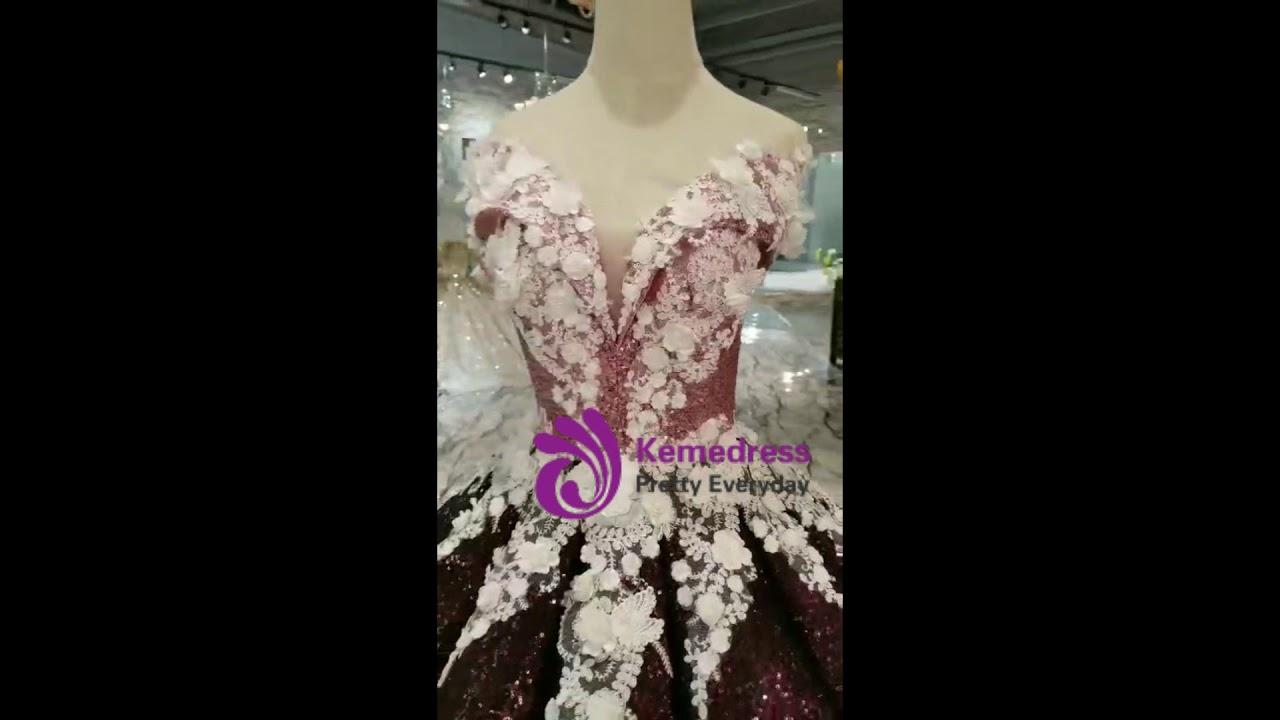 76200e676 kemedress Burgundy Ball Gown Sequins Off The Shoulder Appliques Wedding  Dress
