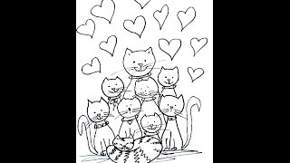 CLOWDER OF CATS  coloring page, how to draw for kids