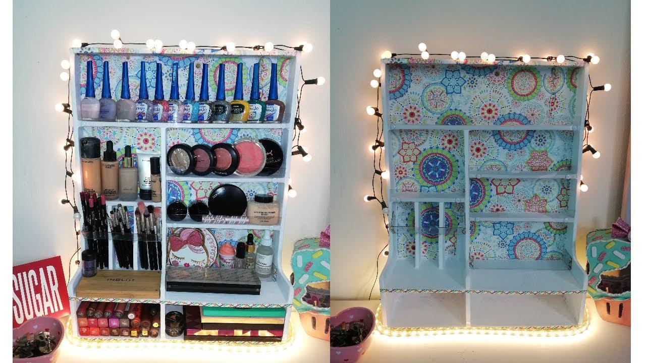 Organizador de maquillaje hecho con cartón reciclado - DIY
