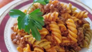 Deliciosa Pasta con carne y tomate    Cocina con rock