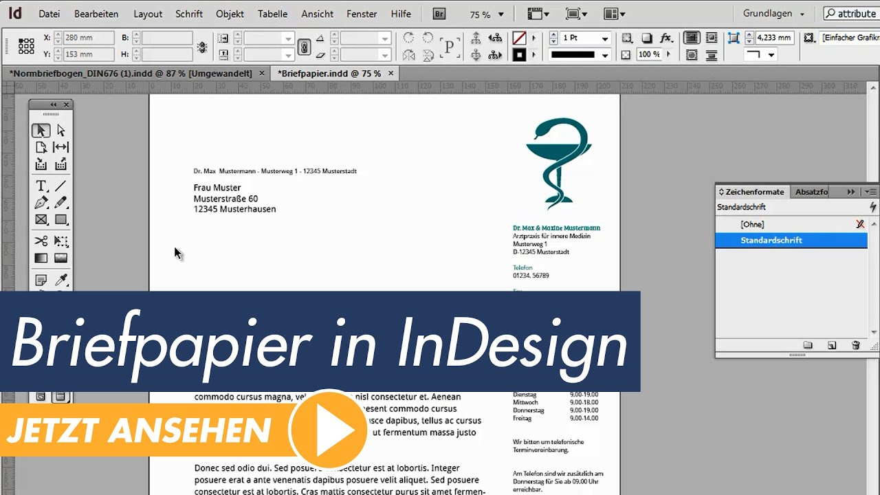 Indesign Tutorial Professionelles Briefpapier Erstellen Youtube