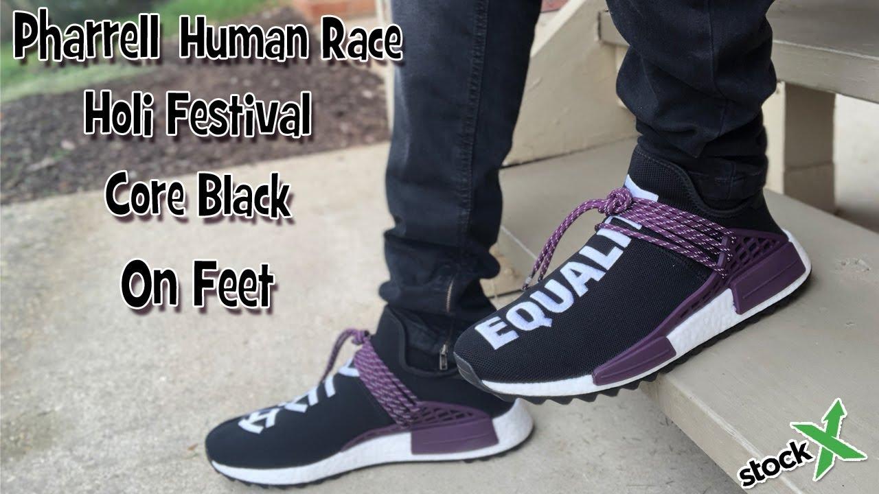 Pharrell Human Race NMD Holi Pack in Core Black On Feet - YouTube 62ca7c3fb