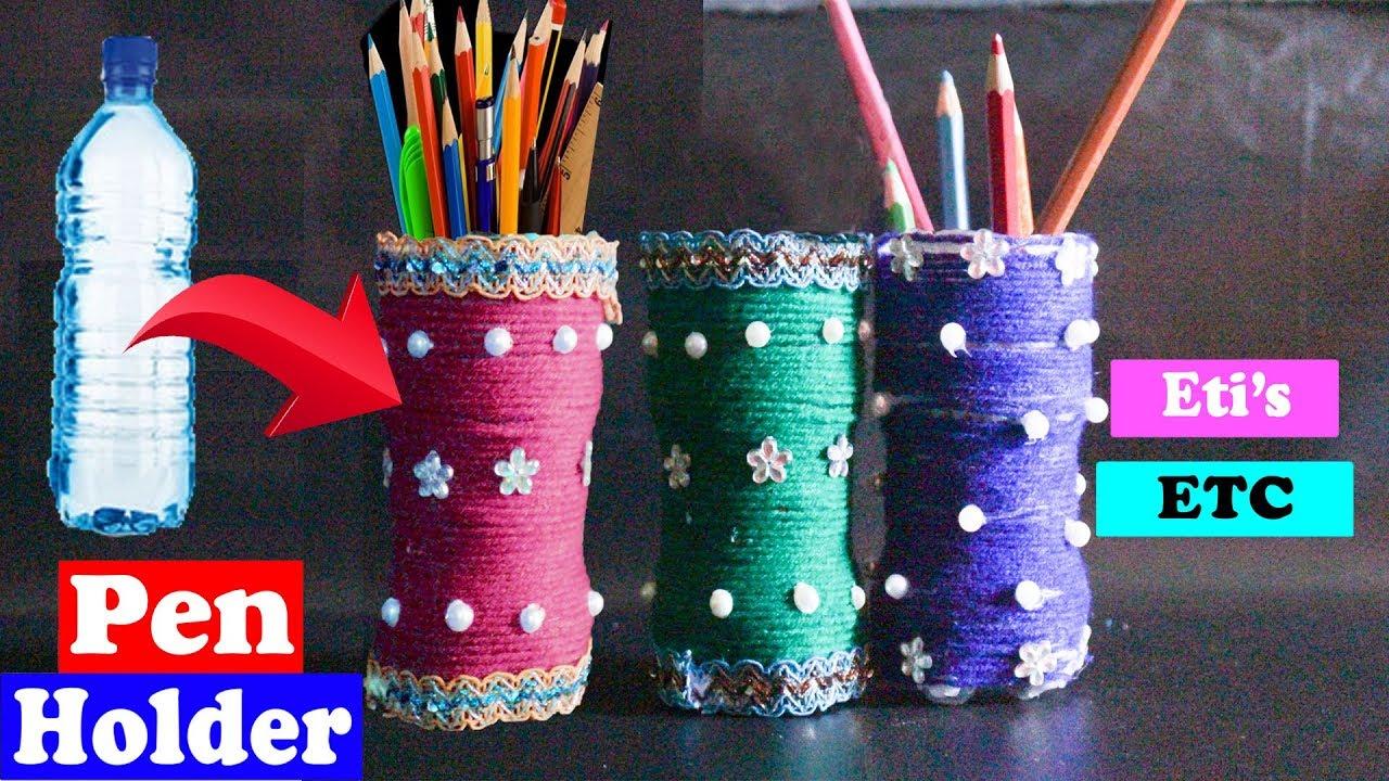 How To Make Plastic Bottle Pen Stand Diy Plastic Bottle Pen Pencil