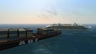 Cointainer ship and Luxury Cruise ship collision | Ship Simulator Extremes 60FPS