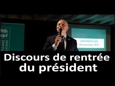 Discours de rentrée du président lors de l'Université de l'UPR 2017