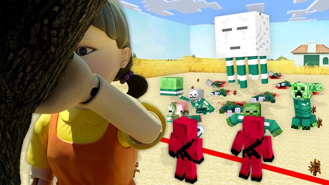 Monster School: Squid Game Red Light Green Light Challenge - Minecraft Animation