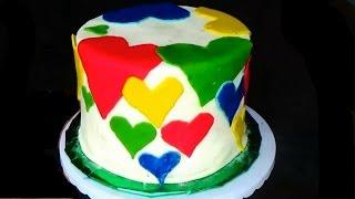 Торт на День святого Валентина. торт на День  всех влюбленных. Украшение тортов мастикой.