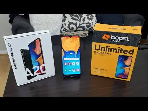 Samsung Galaxy A20 Unboxing And First Boot Up // Boost Mobile//Best Phone Under $200