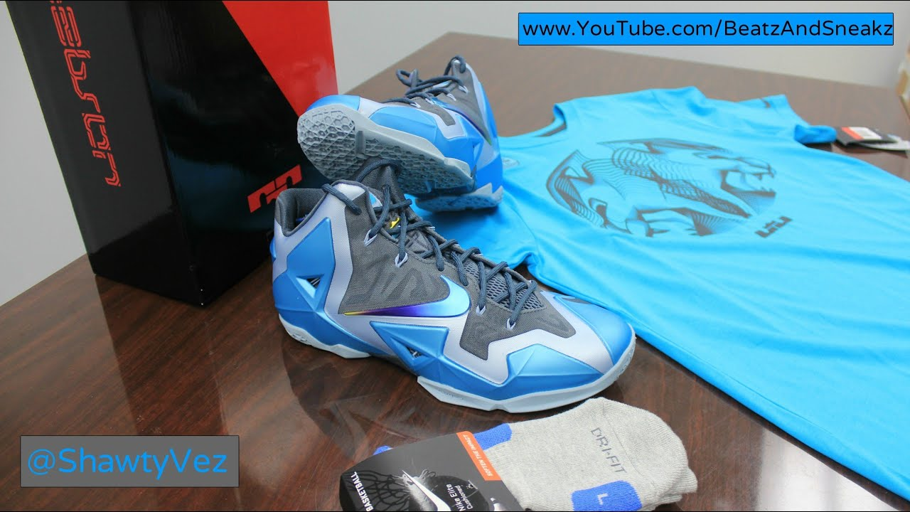 21f6c8b9 Nike LeBron 11 Gamma Blue Review - YouTube