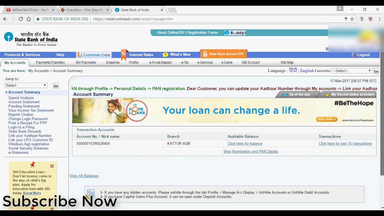 how to get bank statement from sbi online