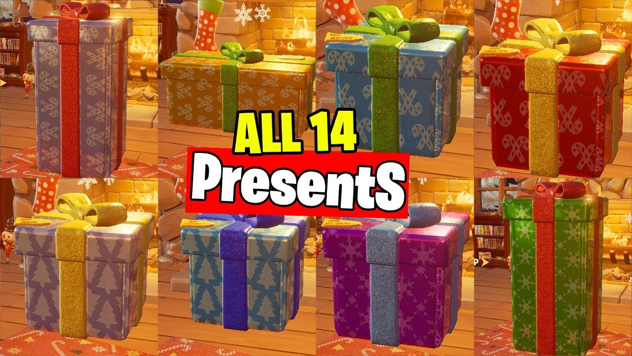 All Winterfest Presents Fortnite Day 1 To Day 14 Youtube