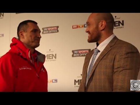 TYSON FURY TORMENTS WLADIMIR KLITSCHKO IN HEAD TO HEAD @ FINAL PRESS CONFERENCE (DUSSELDORF)