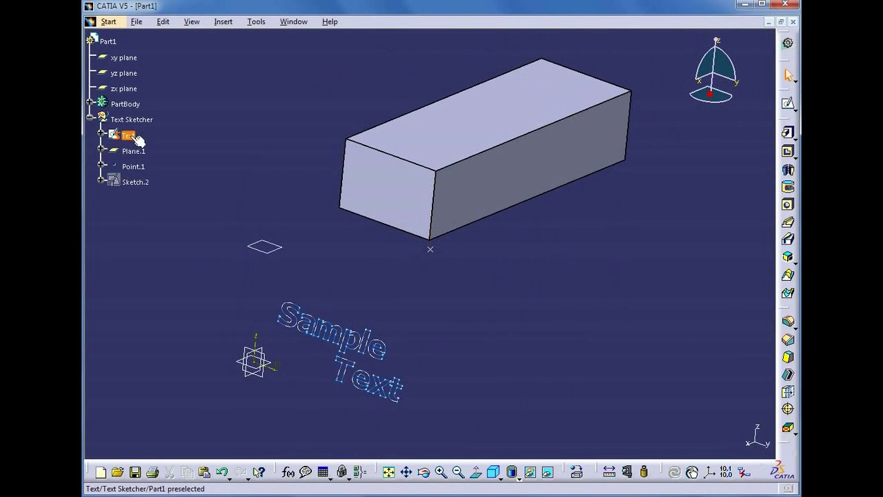 Text Sketcher™ - Create smooth 3D text in CATIA® V5