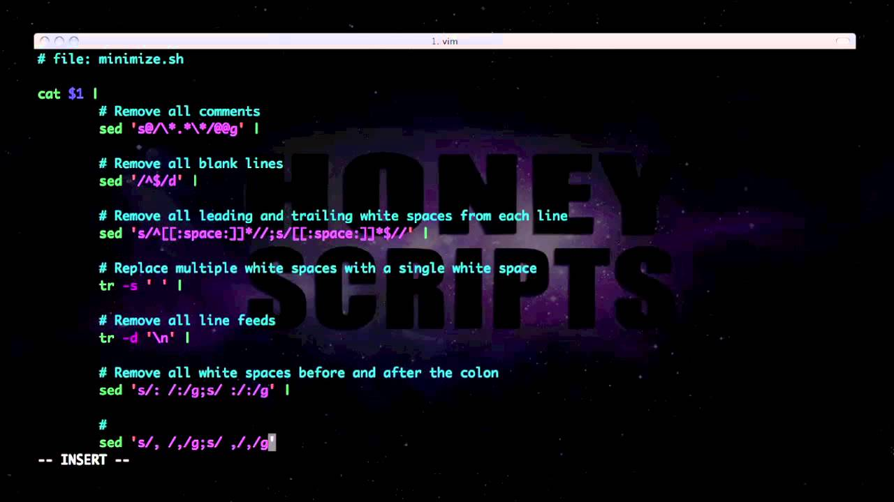 bash shell scripting tutorial: reducing the number of bytes of css