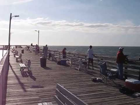 Fishing on the virginia beach fishing pier youtube for Fishing piers in va