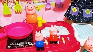 Baby doll Peppa Pig pink kitchen cooking Vegetables and fruits and Surprise Egg toys play #2