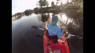 kayak fishing in a florida pond using 8wt fly rod