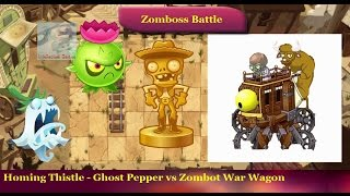 Plants vs Zombies 2 - Homing Thistle Ghost Pepper vs Wild West Zomboss Zombot War Wagon