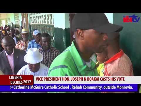 LIBERIA DECIDES 2017 (ELECTIONS UPDATE) VICE PRESIDENT HON. JOSEPH N BOAKAI CASTS HIS VOTE .