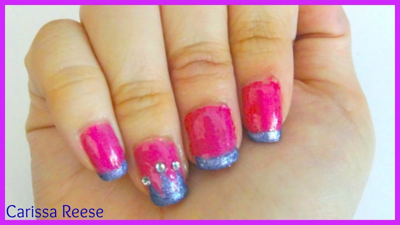 How I Do Easy Pretty Pink Purple Glitter Princess Crown Nails With Crystals For Beginners You
