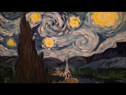 Пишем акрилом картину Ван Гога Звездная ночь