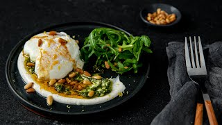 Poached Eggs With Spiced Sour Cream & Pesto