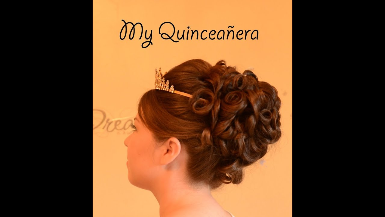 quinceanera updo hairstyle quince - youtube