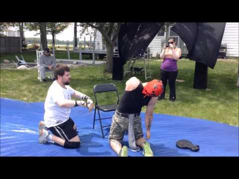 the hardcore luchador vs steven cross - fans bring the weapons match (backyard wrestling )