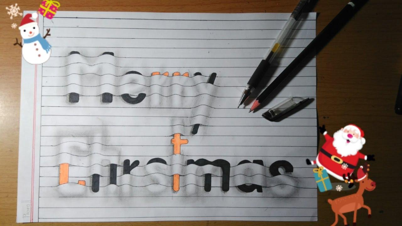 """Merry Christmas, Vẽ 3D chữ """"merry christmas"""" , vẽ 3D đơn giản    Đa Dạng channel"""