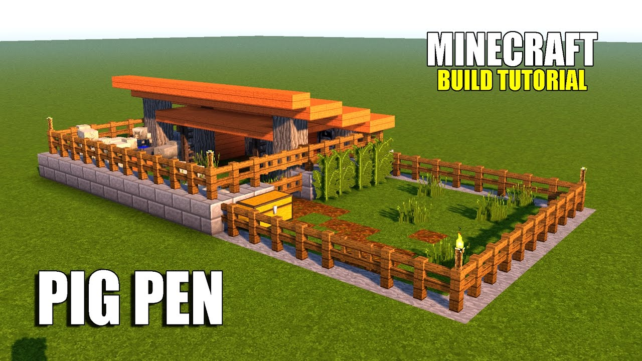 Minecraft: How to Make a PIG PEN / Survival house tutorial ...