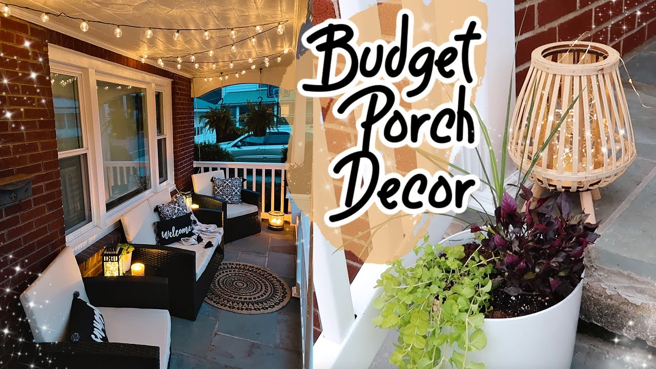 DIY Budget Porch Decor Outdoor Patio Decorate With Me | Small Front Porch Decor Ideas | Adaline Zook