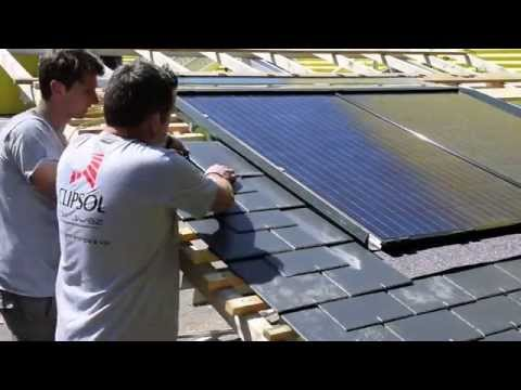 installation de panneaux solaires photovoltaiques clips 39 home solelis 500 wc sur toit en ardoises. Black Bedroom Furniture Sets. Home Design Ideas