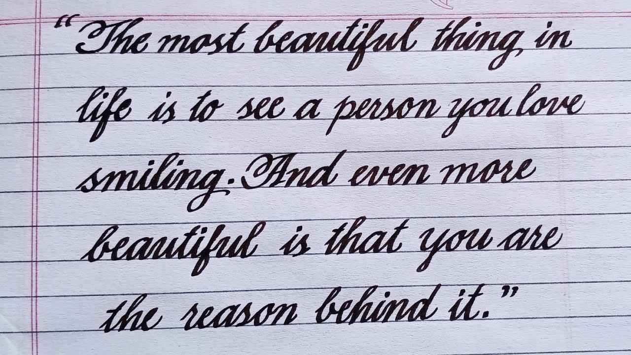Writing sentences in cursive  Beautiful thoughts  Handwriting practice