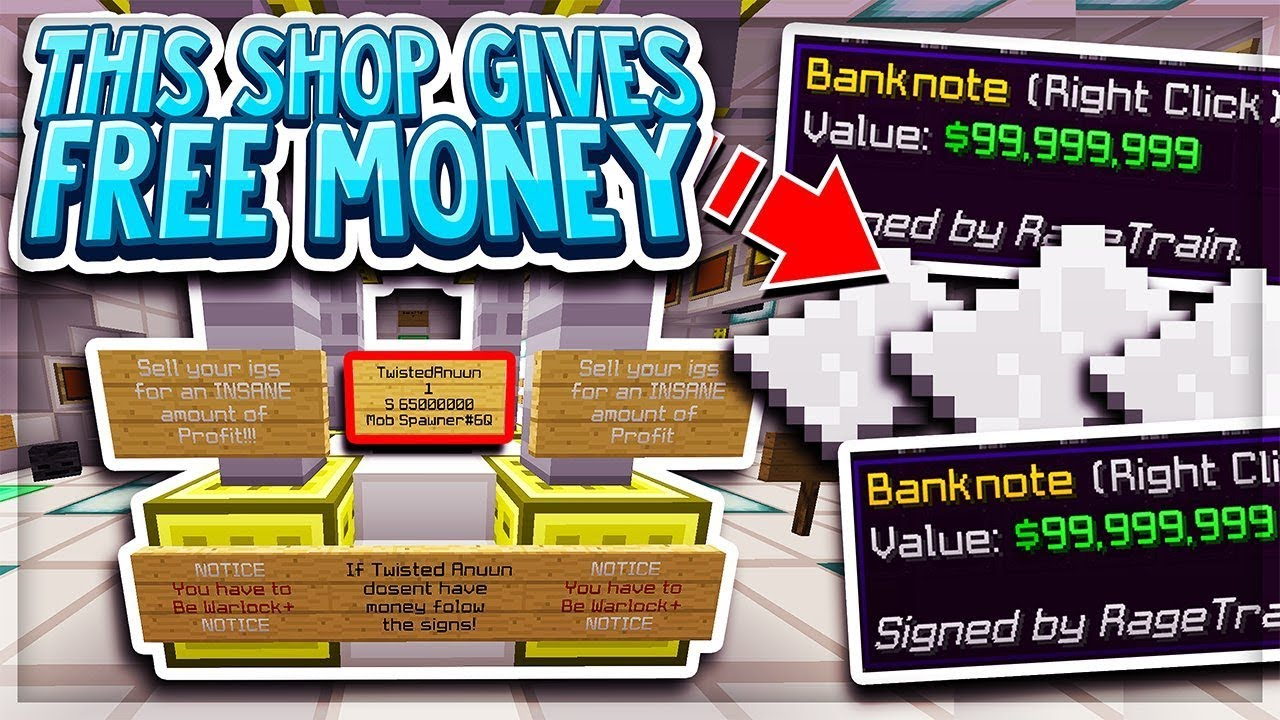 this player's shop literally gives out free money    | Minecraft Skyblock |  MineSaga