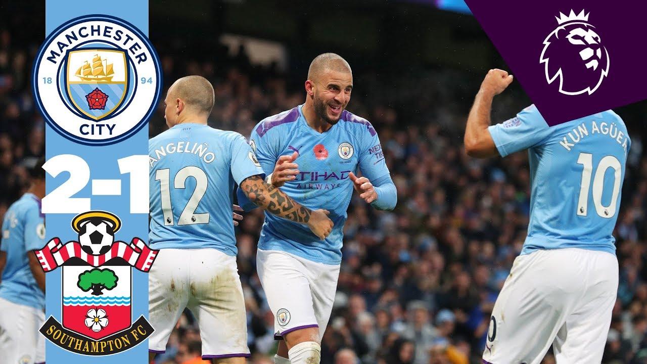 Highlights Man City 2 1 Southampton Aguero Walker