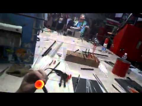 Tyson Peltzer Blowing Glass 1st Person during DFO 2014