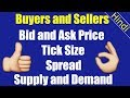 Buyers and Sellers | Bid and Ask price | Spread | Tick/ pip size | Market depth | Demand and supply