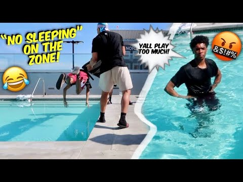 PUTTING OUR BROTHER IN THE POOL WHILE HE'S ASLEEP‼️😂💦 thumbnail