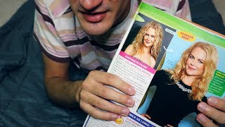 Health Magazine Page Flipping, Eating Chocolate Wafer Roll Pirouline (ASMR)
