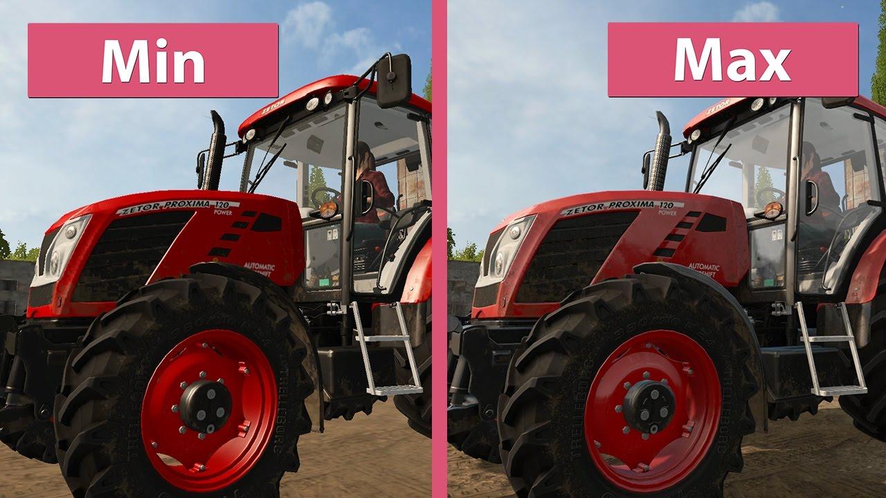 Farming Simulator 17 – PC Min vs. Max Graphics Comparison - YouTube