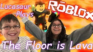 Roblox The Floor is Lava | Can Lucasaur and Morgasaur Stay Alive!