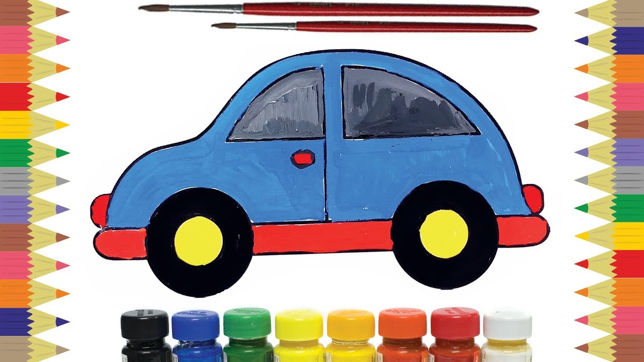 How To Draw And Color Car Water Color Poster Color Drawing Video Coloring Painting Color